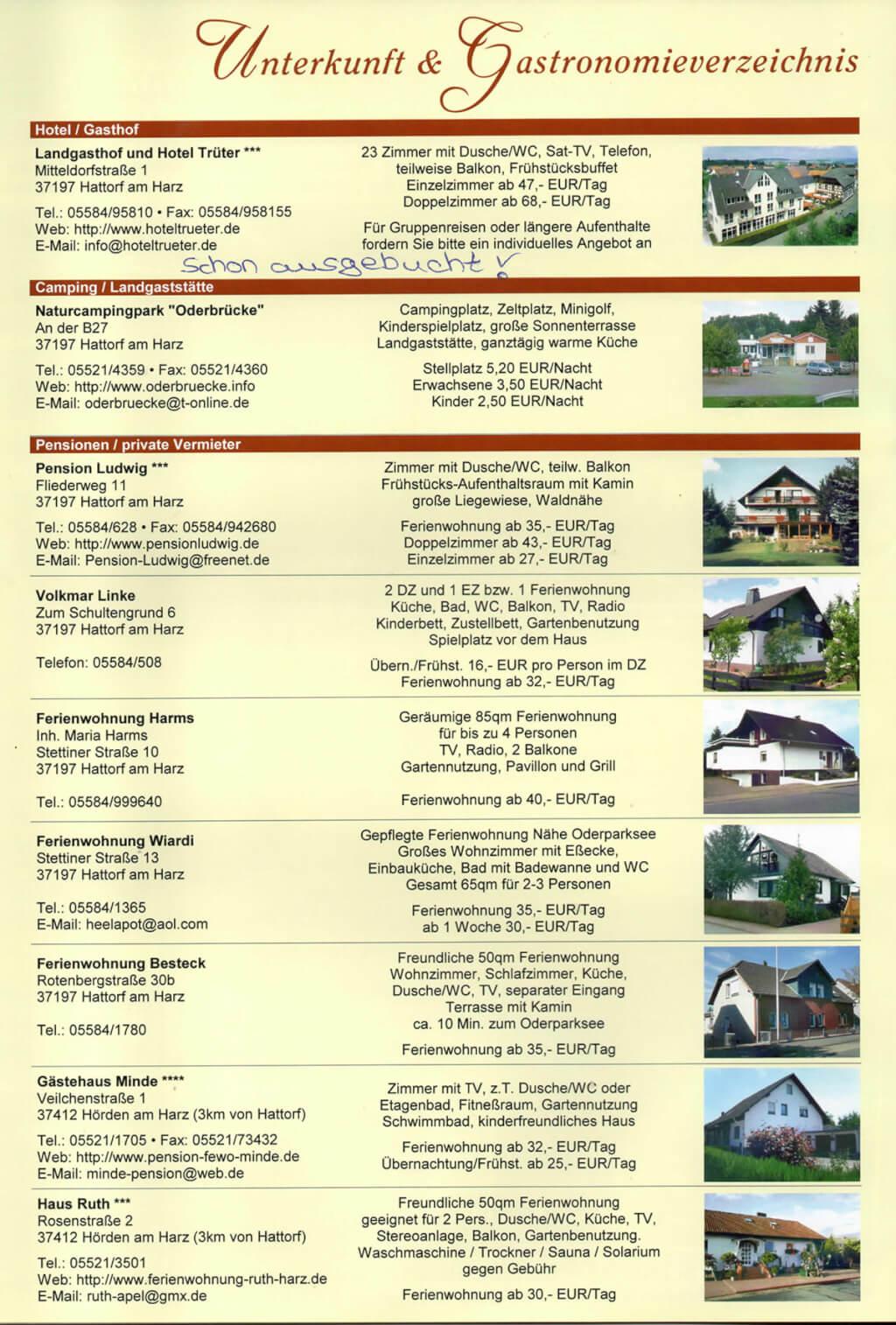 Hotelliste Sommertagung 2018